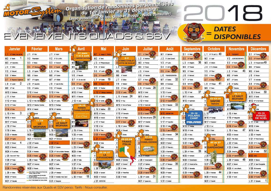 Calendrier des évènements 2016
